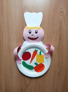 Kucharz- praca plastyczna z wykorzystaniem talerzyka papierowego