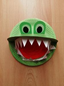 Krokodyl - praca plastyczna z wykorzystaniem talerzyka papierowego