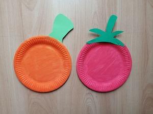 Pomidor i dynia - praca plastyczna z wykorzystaniem talerzyka papierowego