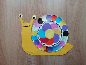 Ślimak - praca plastyczna z wykorzystaniem talerzyka