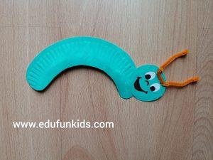 Gąsienica - praca plastyczna z wykorzystaniem talerzyka papierowego