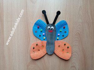Motyl - praca plastyczna z wykorzystaniem talerzyka papierowego