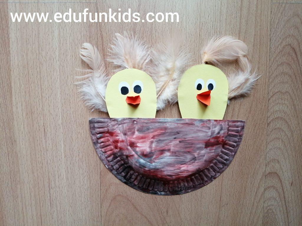 Ptasie gniazdo - praca plastyczna z wykorzystaniem talerzyka papierowego