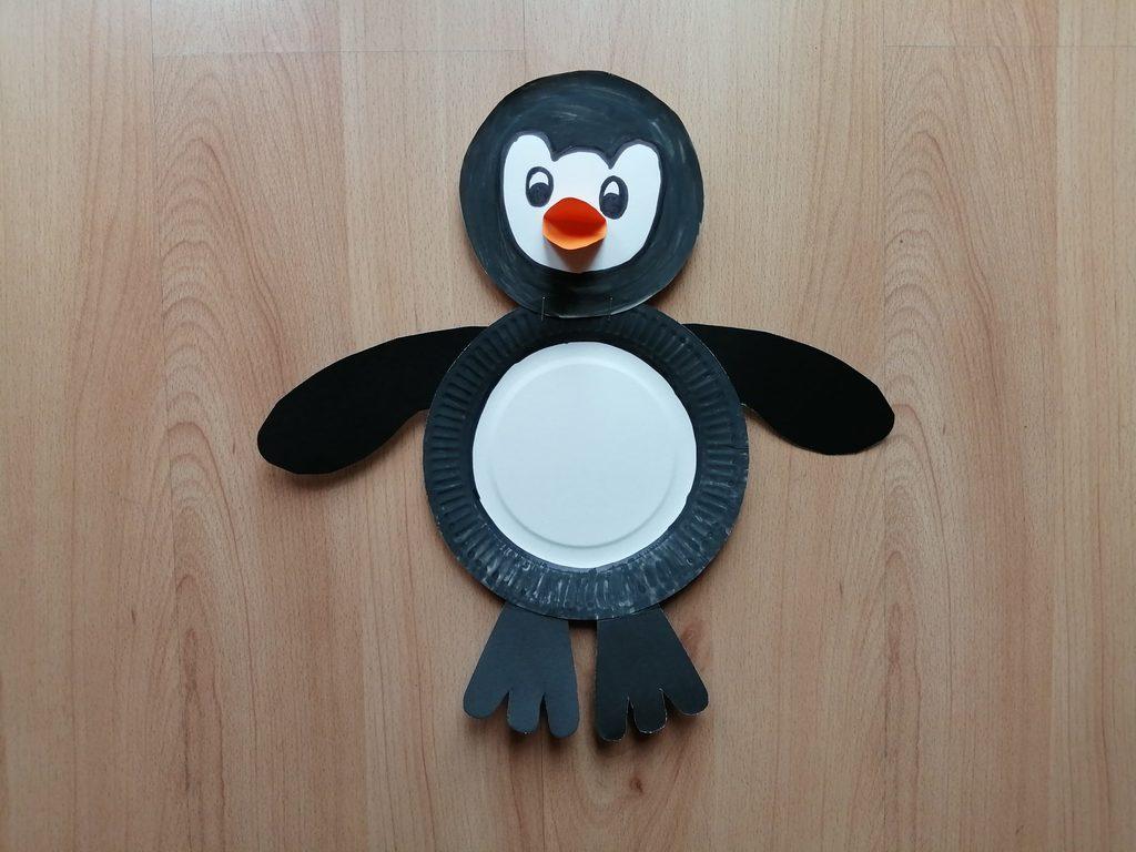 Pingwin - praca plastyczna z wykorzystaniem talerzyka papierowego