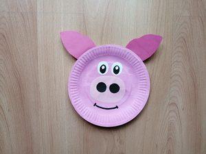 Świnia - praca plastyczna z wykorzystaniem talerzyka papierowego