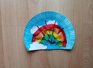 Tęcza - praca plastyczna z wykorzystaniem talerzyka papierowego