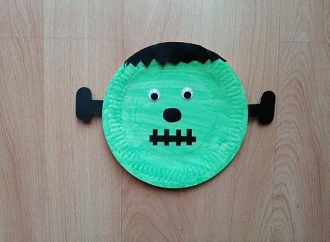 Frankenstein - praca plastyczna z wykorzystaniem talerzyka papierowego