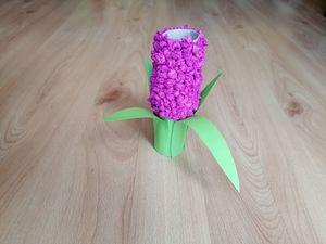 Hiacynt - praca plastyczna z wykorzystaniem rolki
