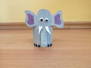 Słoń - praca plastyczna z wykorzystaniem rolki