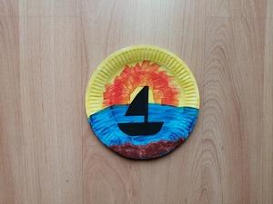Zachód słońca - praca plastyczna z wykorzystaniem talerzyka papierowego