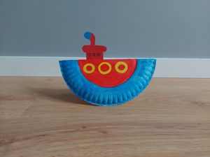Statek podwodny - praca plastyczna z wykorzystaniem talerzyka papierowego
