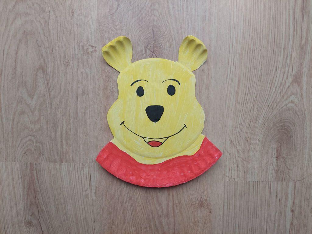 Kubuś Puchatek - praca plastyczna z wykorzystaniem talerzyka papierowego