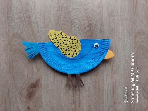 Ptak - praca plastyczna z wykorzystaniem talerzyka papierowego
