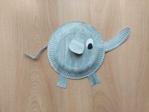Słoń - praca plastyczna z wykorzystaniem talerzyka papierowego