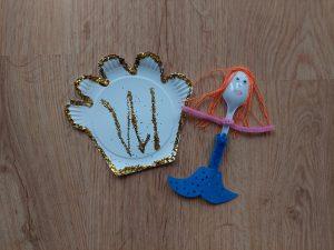Syrenka z muszelką – praca plastyczna z wykorzystaniem talerzyka papierowego
